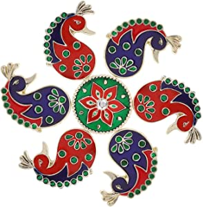 Diwali Acrylic Rangoli Floor Decorations Acrylic Rangoli with Studded Stones and Sequins, Traditional Festive Home Décor (Design8)