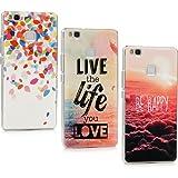 3 Unidades Huawei P9 Lite Funda , Huawei P9 Lite Carcasa, Lanveni Funda Ultrafina Elegante PC Rigida Anti-rasguñe , Transparente Protective Case (Patrón de hojas de colores + mar + patrón de be happy)