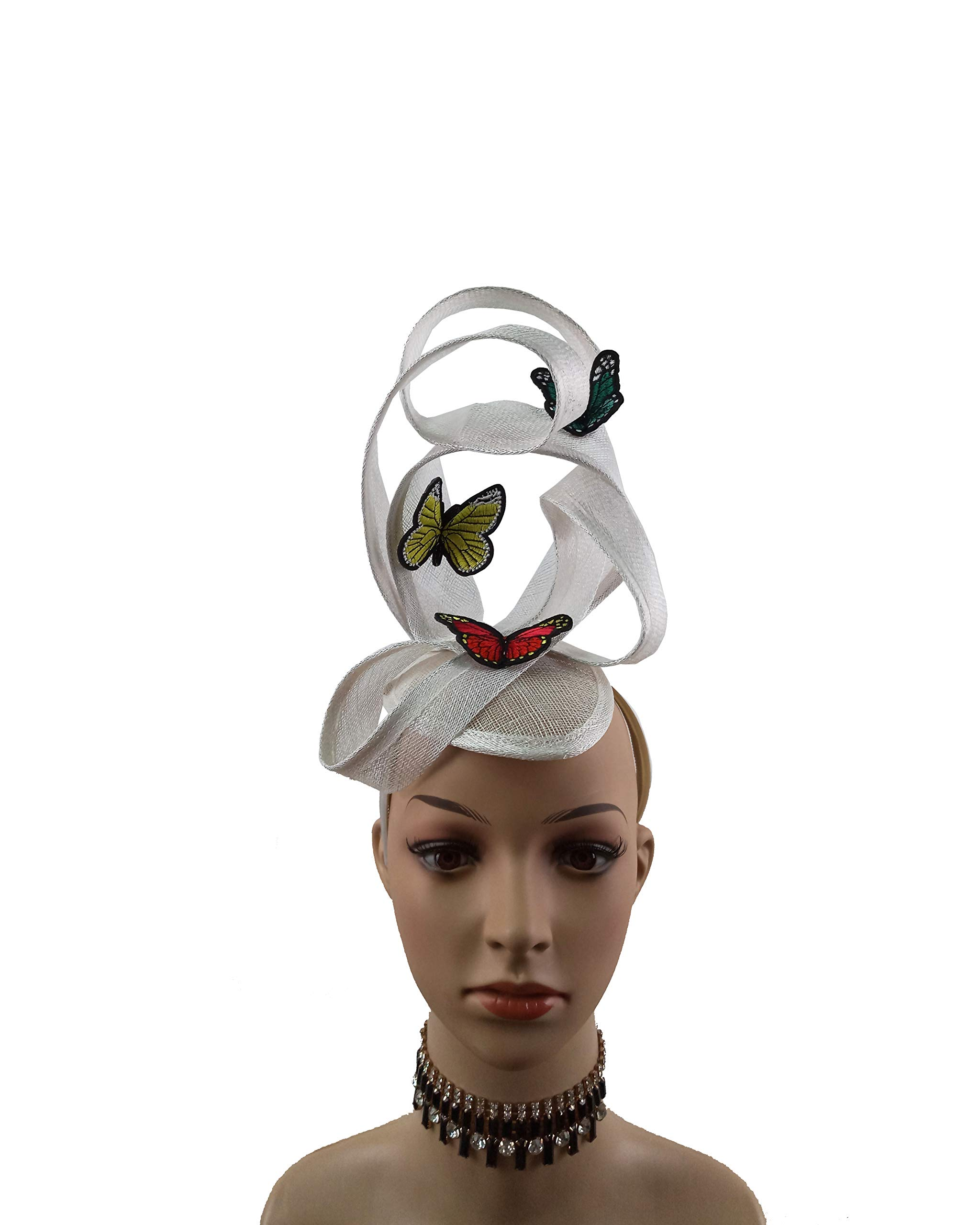Embroidery Butterfly Ribbon Curl Exotic Sinamay Fascinator Headband Hats Derby Racing Hat (White) by ABPF