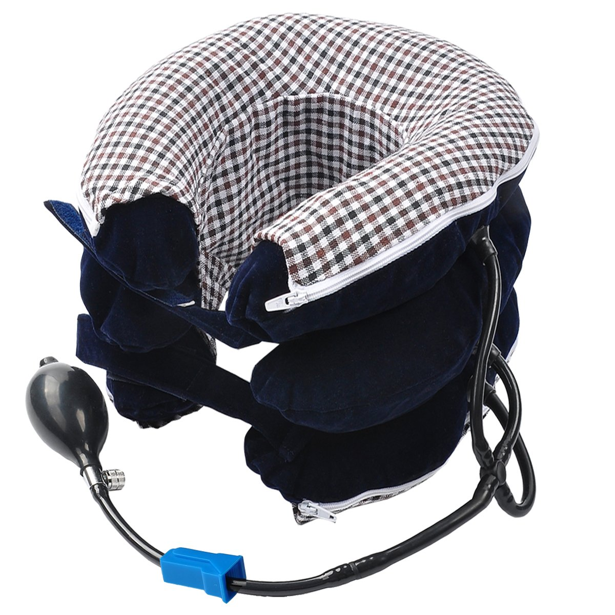 Inflatable Cervical Neck Traction Device-Professional Neck Cervical Pillow Reduce Head & Neck & Shoulder Pain Increasing Blood Circulation Fully Adjustable to Fit Men and Women (Blue)