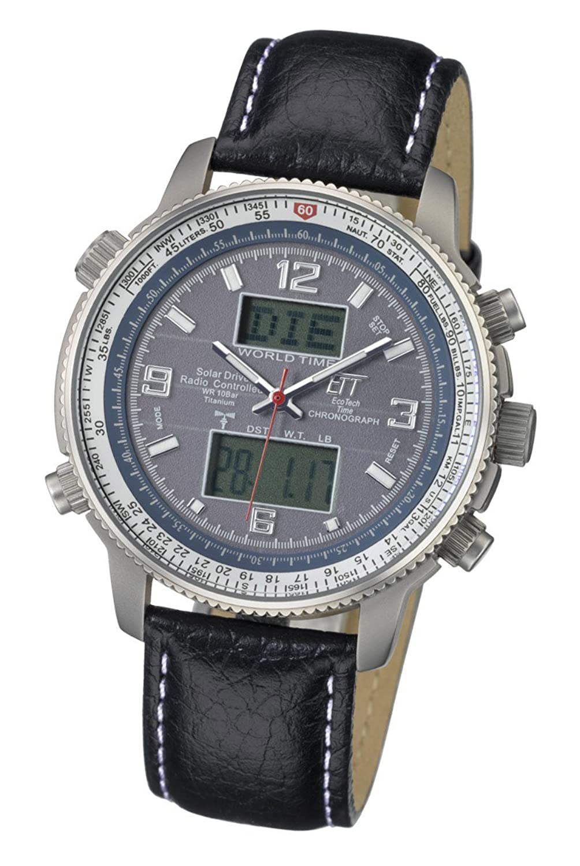 Herren Funk-Solar-Uhr Eco Tech Time Herrenuhr Solar Drive Funk Professional Pilot Herrenuhr EGT-11209-31L Solar-