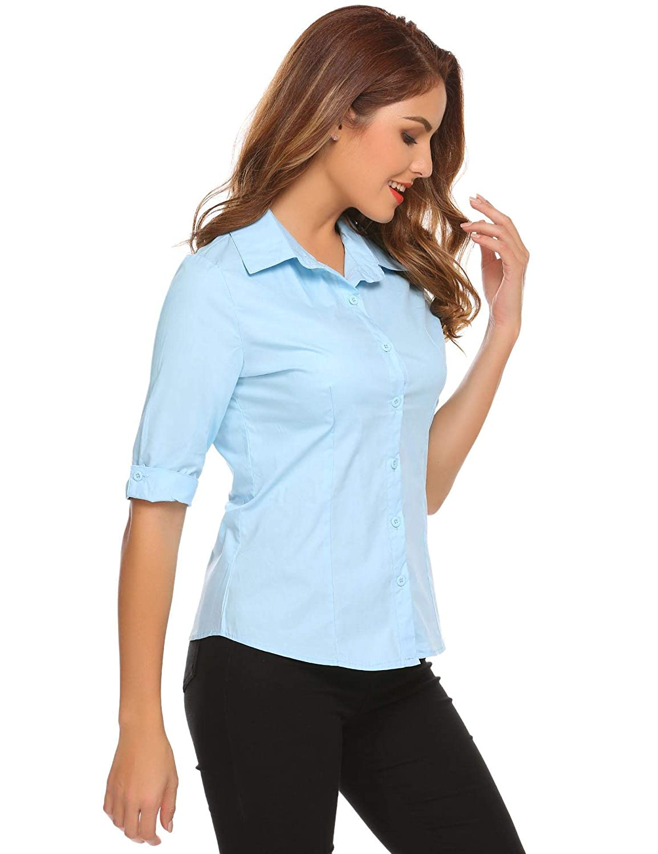Unibelle dam blus skräddarsydd skjortblus 3/4 ärmar blusedamen arbetshemd basemd affärshemd blå