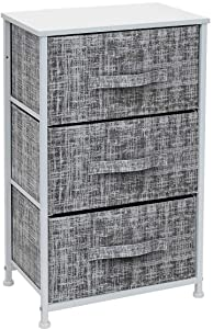 Sorbus Nightstand with 3 Drawers - Bedside Furniture & Accent End Table Storage Tower for Home, Bedroom Accessories, Office, College Dorm, Steel Frame, Wood Top, Easy Pull Fabric Bins (Gray/White)