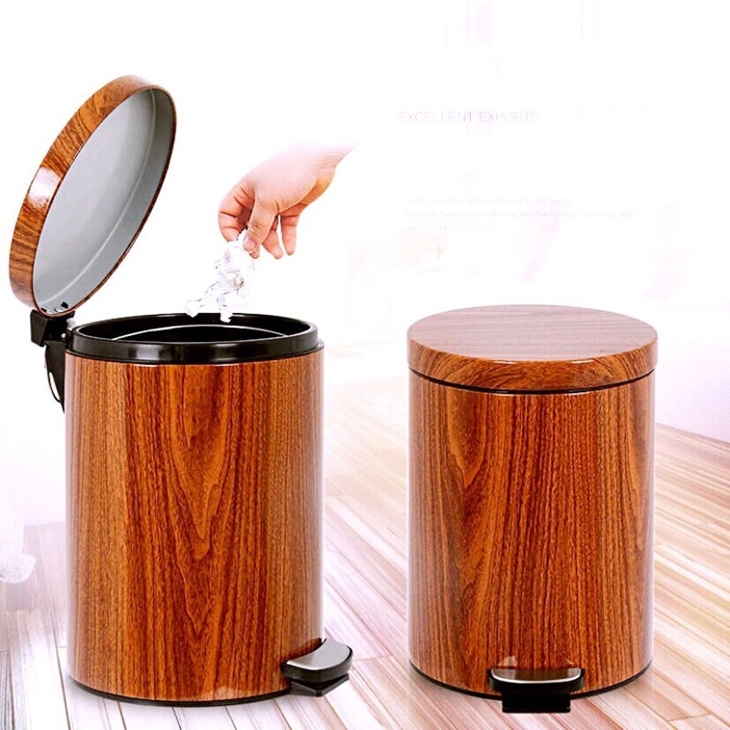Imitation Wood Grain Trash Can, Kitchen Covered Living Room Trash Can - Bathroom Foot-Mount Home Mute (Size : 9L) by Trash can kitchen trash can small trash can bathro (Image #2)