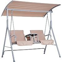 Outsunny Hollywoodschaukel Gartenschaukel Schaukel 2-Sitzer mit Sonnendach 170 x 110 x 165cm