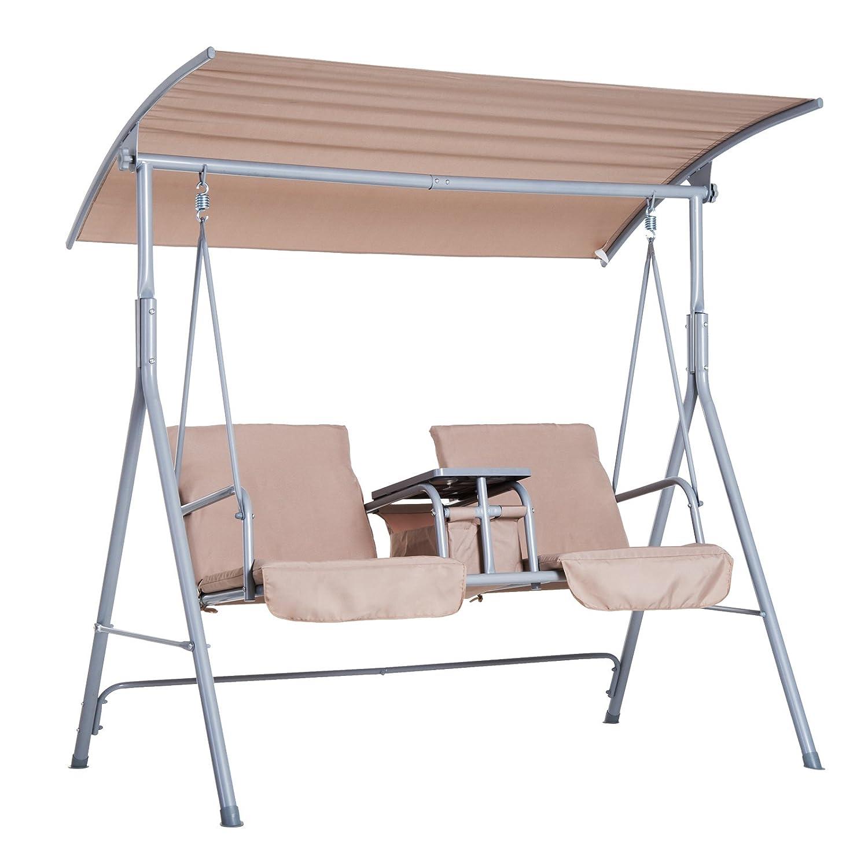 Outsunny Hollywoodschaukel Gartenschaukel Schaukel 2-Sitzer mit Sonnendach Beige 170 x 110 x 165cm