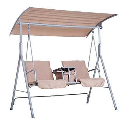 Amazon.com  Outsunny 2 Person Covered Patio Swing with Pivot Table u0026 Storage Console - Beige  Garden u0026 Outdoor  sc 1 st  Amazon.com & Amazon.com : Outsunny 2 Person Covered Patio Swing with Pivot Table ...