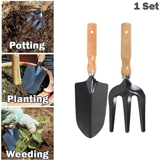 Jardín tenedor y pala de 2 piezas Set – Heavy Duty Metal herramientas de jardinería (Pack de 1): Amazon.es: Hogar