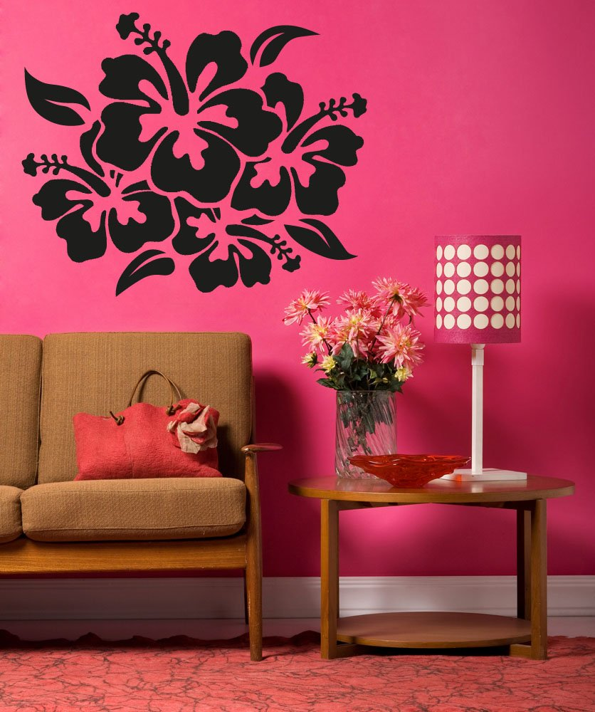 Amazon.com Vinyl Wall Decal Sticker Hibiscus Flowers OS_AA238B Home u0026 Kitchen : hibiscus wall decals - www.pureclipart.com
