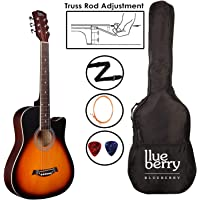 Blueberry B-38T 38 Inch Acoustic Guitar Kit Inbuilt Truss Rod, with Bag, Belt, One Pack of 6 Strings And Picks (Natural)