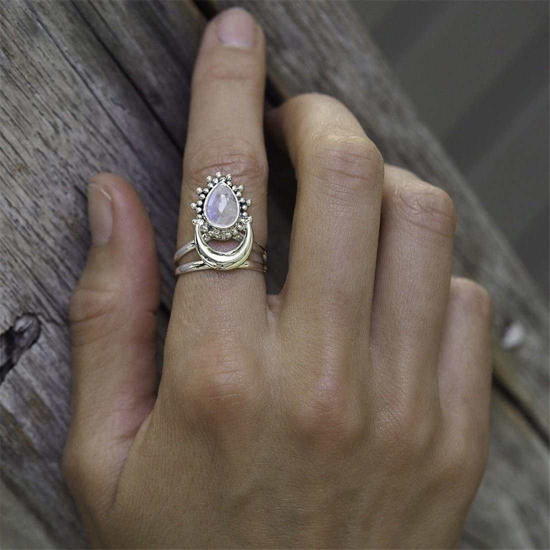 Yesiidor Crescent Anillo de plata con piedra lunar, estilo vintage, estilo bohemio, para regalo, cobre, As Pictures, 10