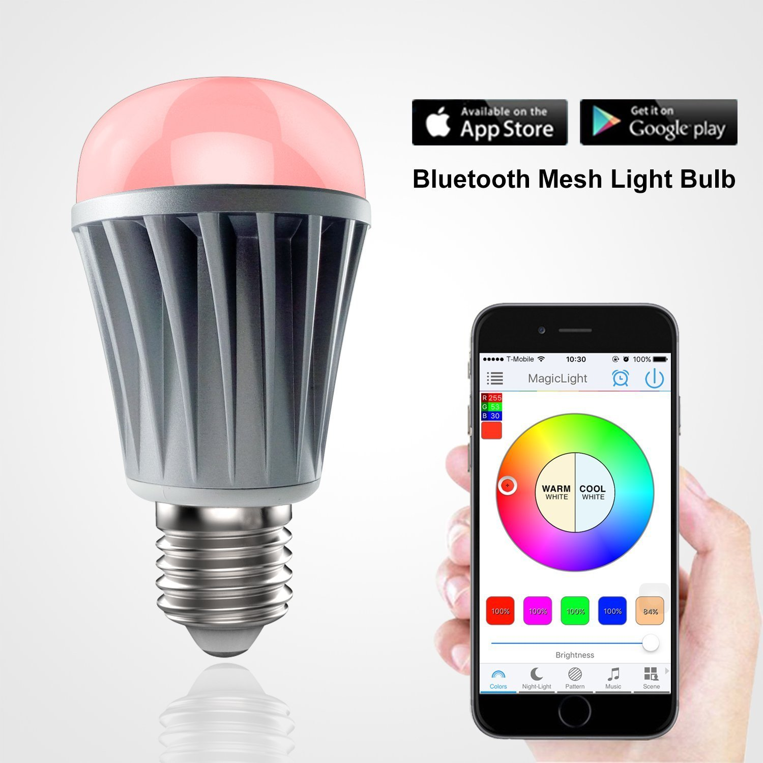 MagicLight Mesh - Bluetooth LED Light Bulb - Dimmable White ...
