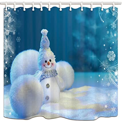 HiSoho Christmas Shower Curtains Plush Snowan Venonat Snowflake Mildew Resistant Polyester Fabric Bath Curtain