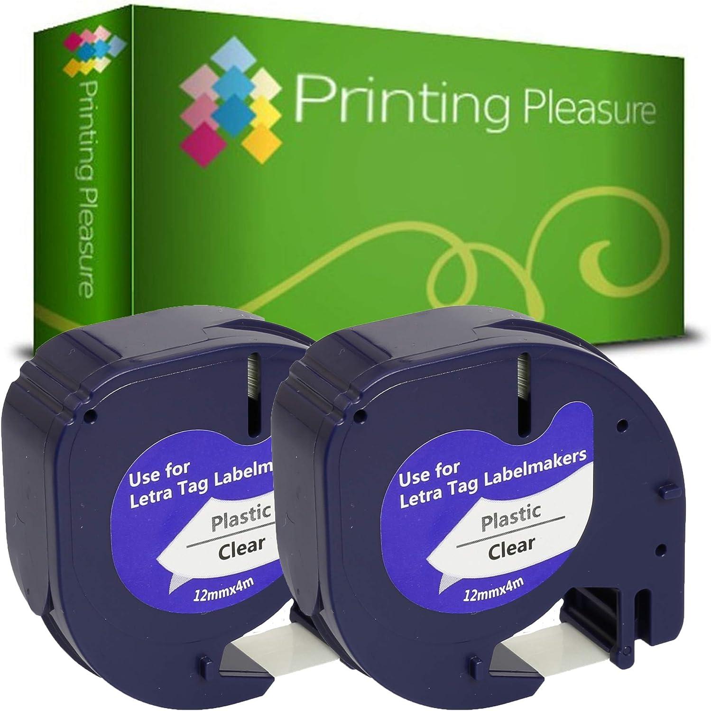 XR 2000 LT-100T Plus Impresoras de etiquetas LT-110T XM Cinta de pl/ástico para Dymo LetraTag LT-100H QX 50 12mm x 4m 10x Compatible LetraTag Negro sobre Gota Rosa
