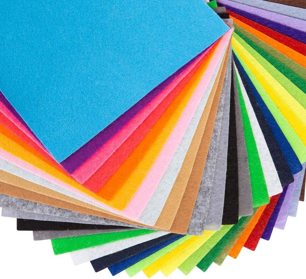 Sewing Crafting Projects Gift About 1mm Thick DIY Polyester Felt Nonwoven Fabric Sheet for Craft Work 40 Colors Super Soft Squares15*15cm // 6 * 6inch
