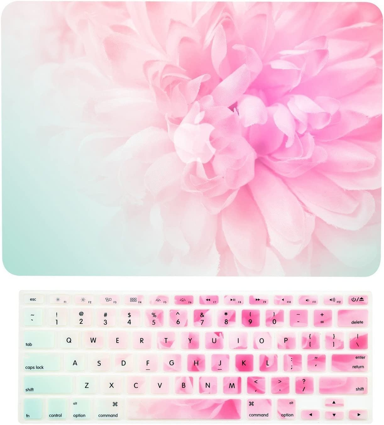 """TOP CASE - 2 in 1 Signature Bundle Floral Pattern Graphics Rubberized Hard Case + Keyboard Cover Compatible MacBook Pro 15"""" with Retina Display Model: A1398 (Release 2012-2015) - Pink Peony"""