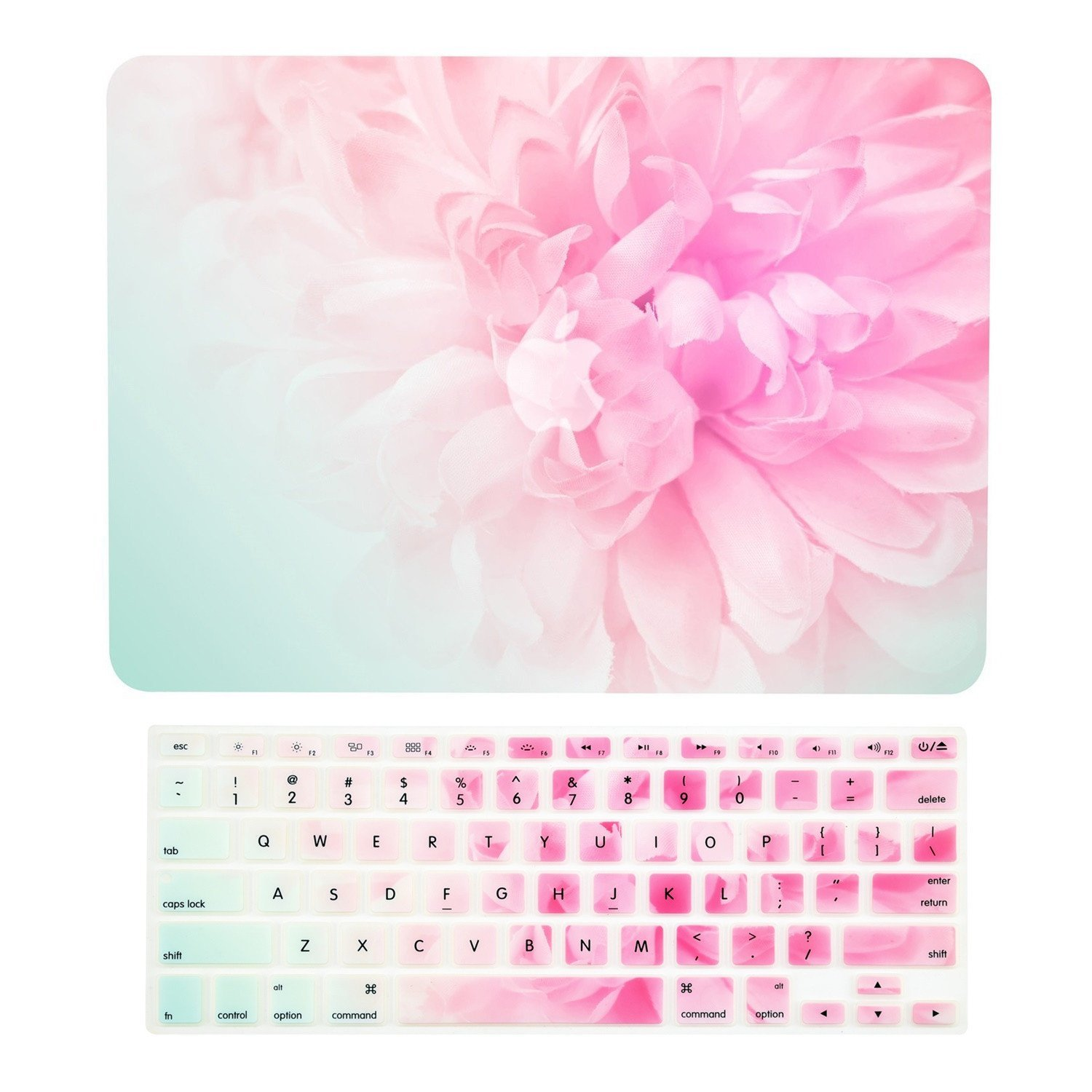 TOP CASE – 2 in 1 Bundle Deal Floral Pattern Rubberized Hard Case + Keyboard Cover Compatible with Apple MacBook Air 13'' (13'' Diagonally) Model: A1369 / A1466 - Pink Peony on Turquoise Base
