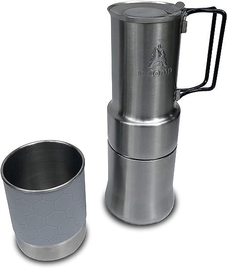 nCamp Cafetera portátil para Acampar, Estilo Compacto de expreso, de Acero Inoxidable, para Camping, Senderismo, Campamento, Chef: Amazon.es: Deportes y aire libre