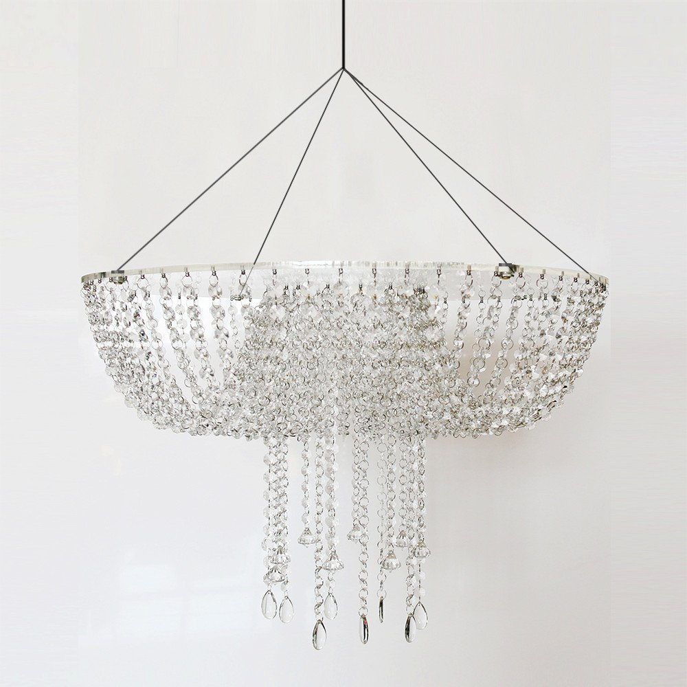 Romantic Wedding Faux Acrylic Crystal Chandelier Style Drape Suspended Cake Swing (Acrylic, DIA24'')