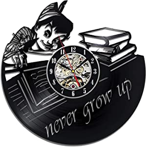 Wood Crafty Shop Peter Pan Never Grow Up Vinyl Record Wall Clock Gift for Him and Her Unique Wall Decor The Best Gift Idea for Any Event Birthday Gift, Wedding Gift