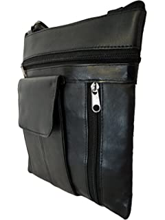 5c0855f409d Black Leather Travel Bag - Man Bag in Real Leather - Large Phone Pocket 4  Zipped Pockets - Cross…