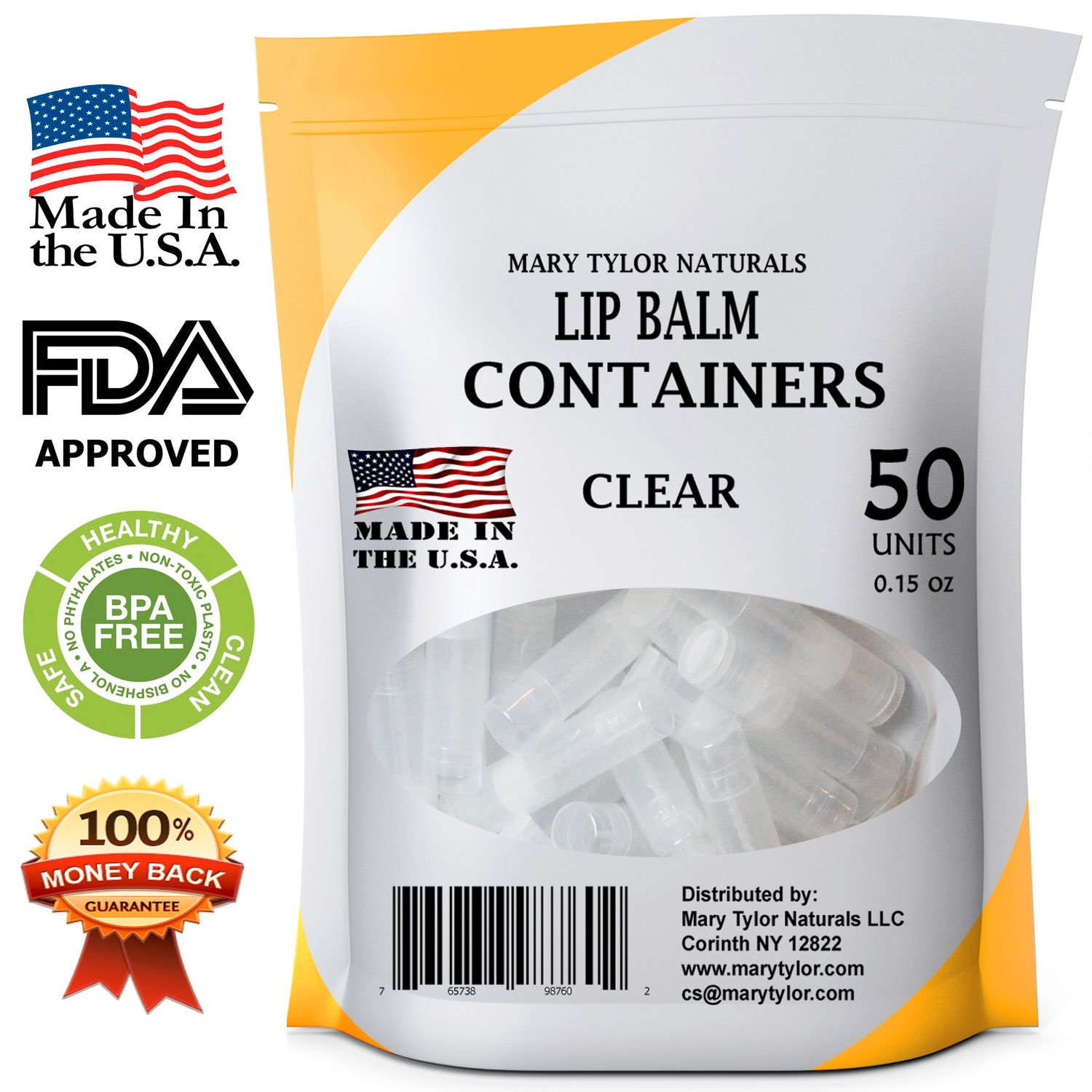 Mary Tylor Naturals Lip Balm Containers, 50 Clear Round Tubes, BPA Free, Made in USA, FDA Approved, 100% BPA Free, with Clear Caps For DIY Lipstick, homemade Lip Balms (50, Clear)