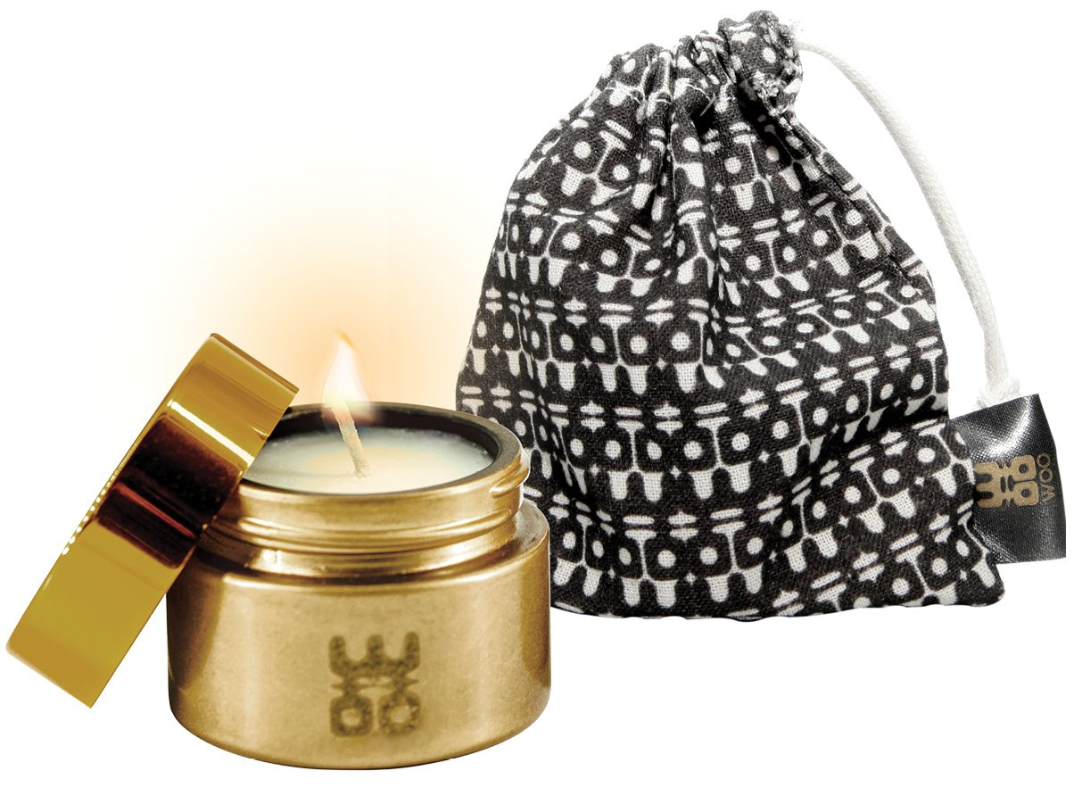 WOO Lucky Candle Collection | Handmade Eco Beeswax Aromatherapy Travel Candle | Organic Cotton Bag | Cherishing Treasure Fragrance | Ylang Ylang, Sandalwood, Mandarin, Black Pepper | Gold | 10h Burn