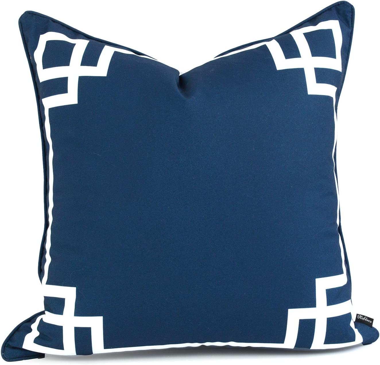 """Hofdeco Spring Indoor Outdoor Pillow Cover ONLY, Water Resistant for Patio Lounge Sofa, Navy Blue Greek Key, 20""""x20"""""""