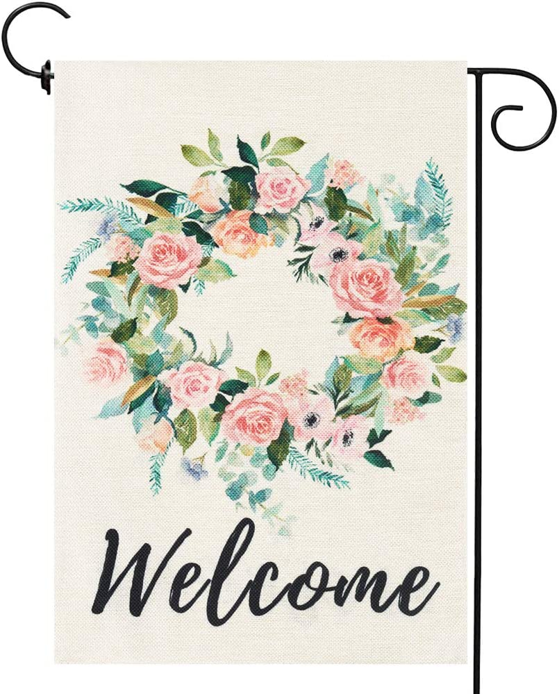 Welcome Wreath Garden Flag Summer Yard Flags Double Sided Burlap House Flag Outdoor Decoration 12.5 x 18 Inch