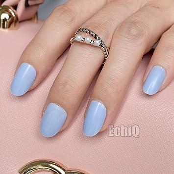 Shining Artificial Nail Art Tips Sky Blue Oval Medium False Nails For Ladies Finger DIY Full