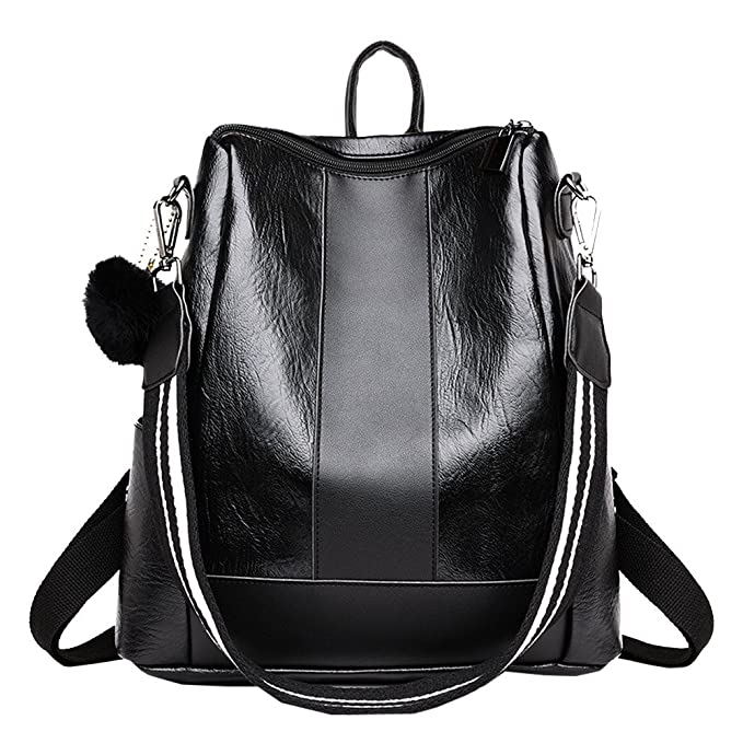 b1f7bb1c27c Amazon.com: Girl Hairball Leather School Bag Hit Color Backpack Satchel  Travel Shoulder Bag,Outsta 2019 Deals! Fashion Bags Black: Clothing