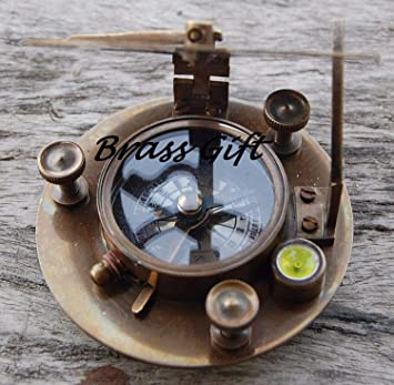 """Vintage nautical Compass brass Sundial working Astrolabe compass West London 3/"""""""