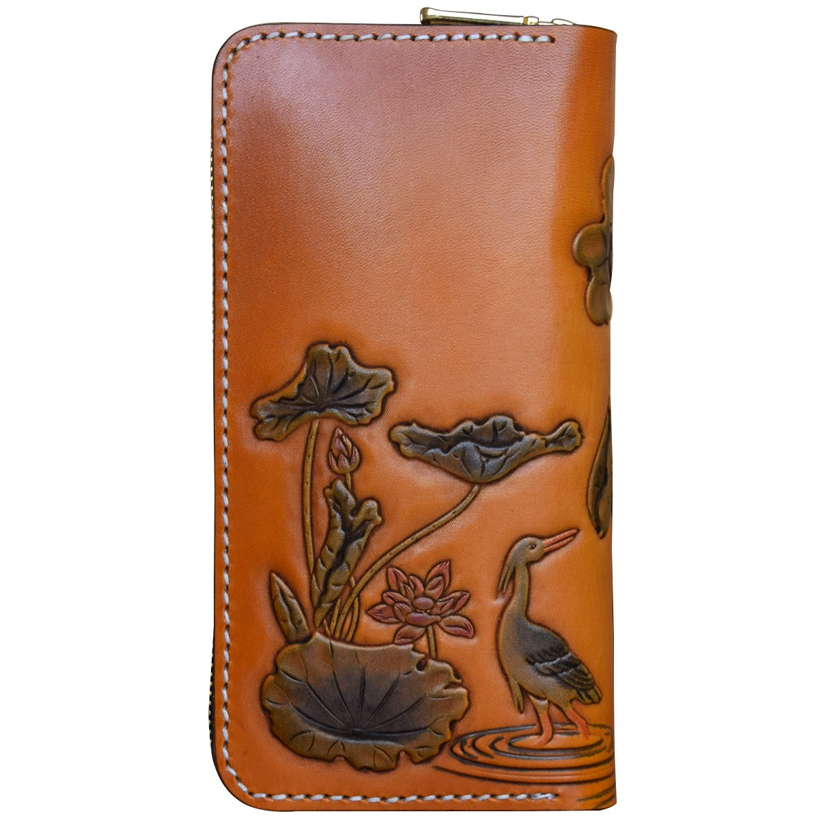 OLG.YAT Vegetable tanned leather Retro Genuine Leather Men's Wallets WL22ZH by OLG.YAT