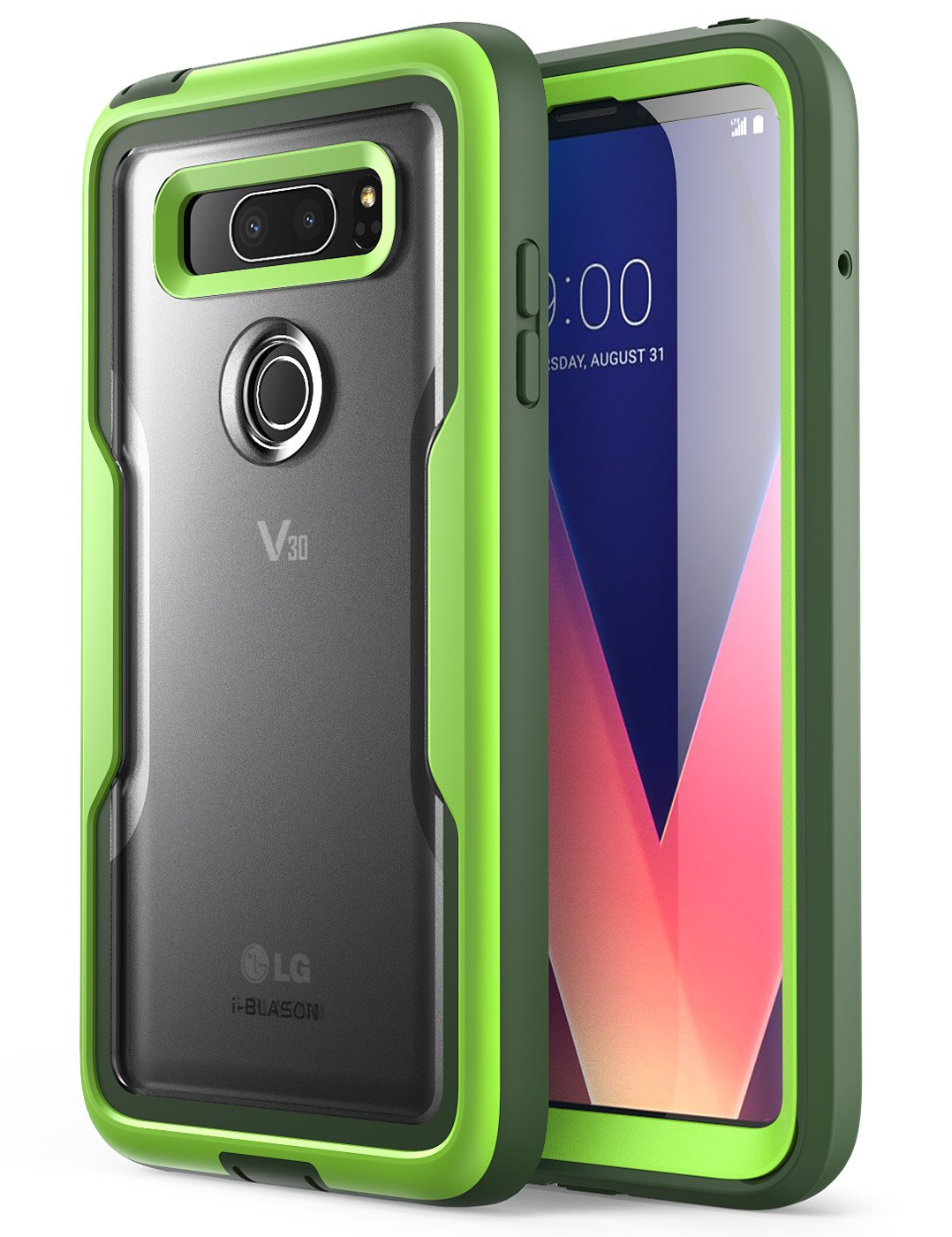 i-Blason Case for LG V30 / V30 Plus / V30S (2017), [Heavy Duty Protection] [Clear Back] [Magma Series] Shock Reduction/Full body Bumper Case with Built-in Screen Protector (Green)