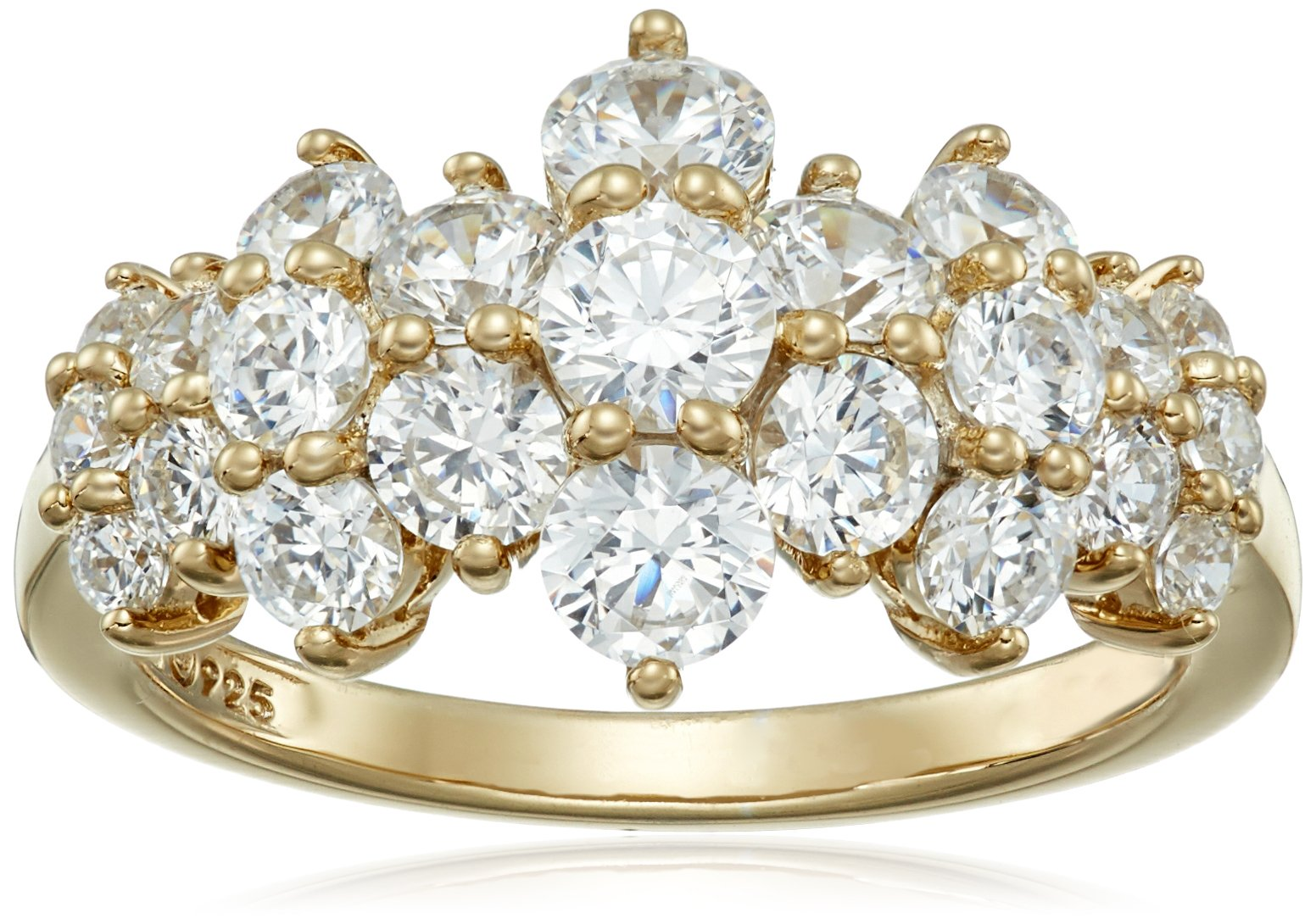 Yellow-Gold-Plated Sterling Silver Cluster Ring set with Round Cut Swarovski Zirconia (1.5 cttw), Size 8