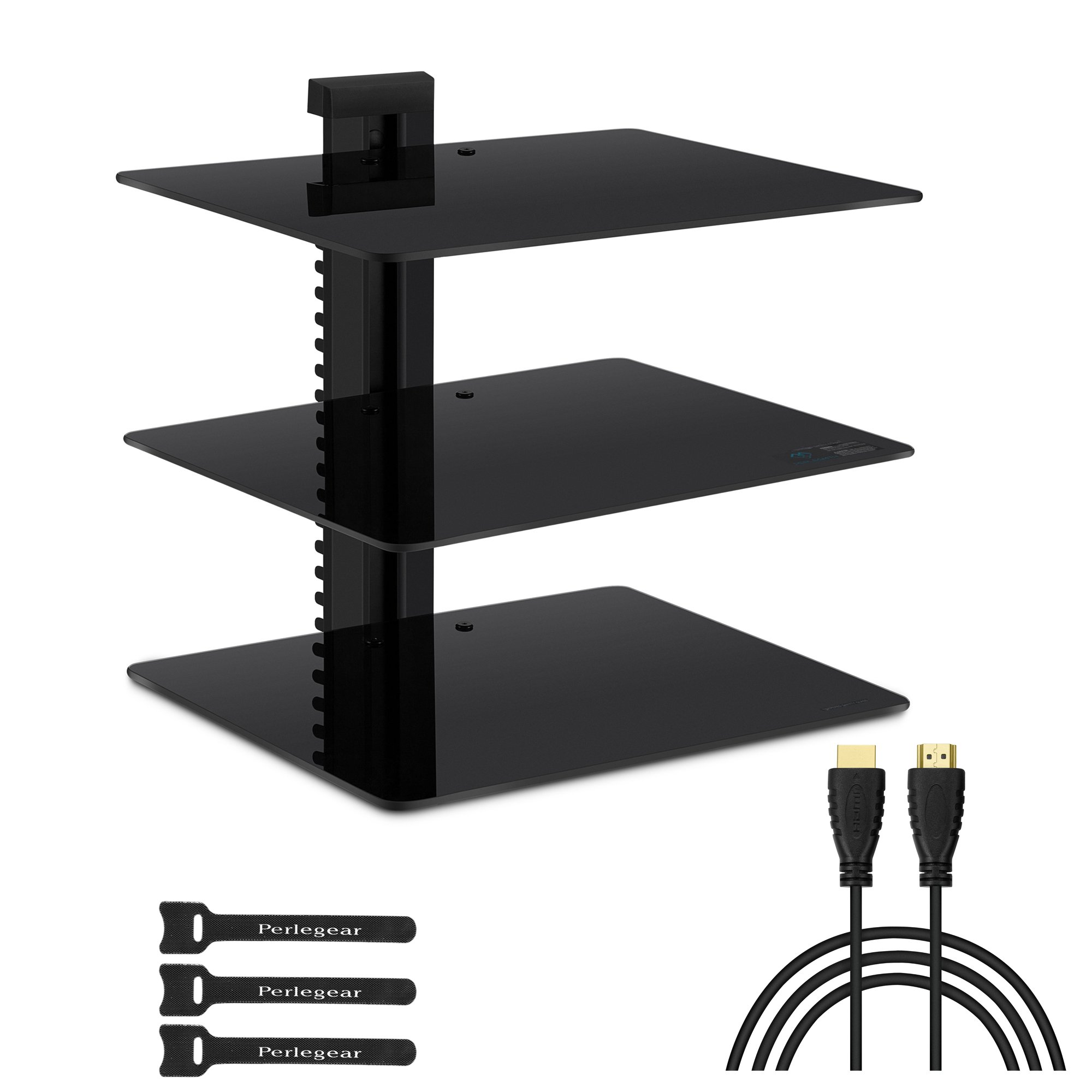 Three Floating DVD DVR Shelf – 3x Wall Mount AV Shelves (15x11 inch) with Strengthened Tempered Glass - for PS3, PS4, Xbox One, Xbox 360, TV box & Cable Box - Bonus 6'' Slim HDMI Cable by Perlegear