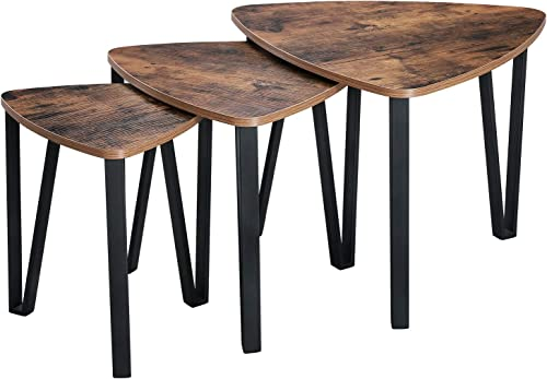 VASAGLE Industrial Nesting Coffee Table, Set of 3 End Tables for Living Room, Stacking Side Tables, Sturdy and Easy Assembly, Wood Look Accent Furniture with Metal Frame