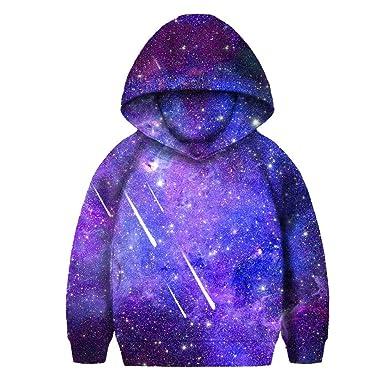 5ad901922 Amazon.com  SAYM Boys Girls Kids Galaxy Fleece Universe Sweatshirts ...