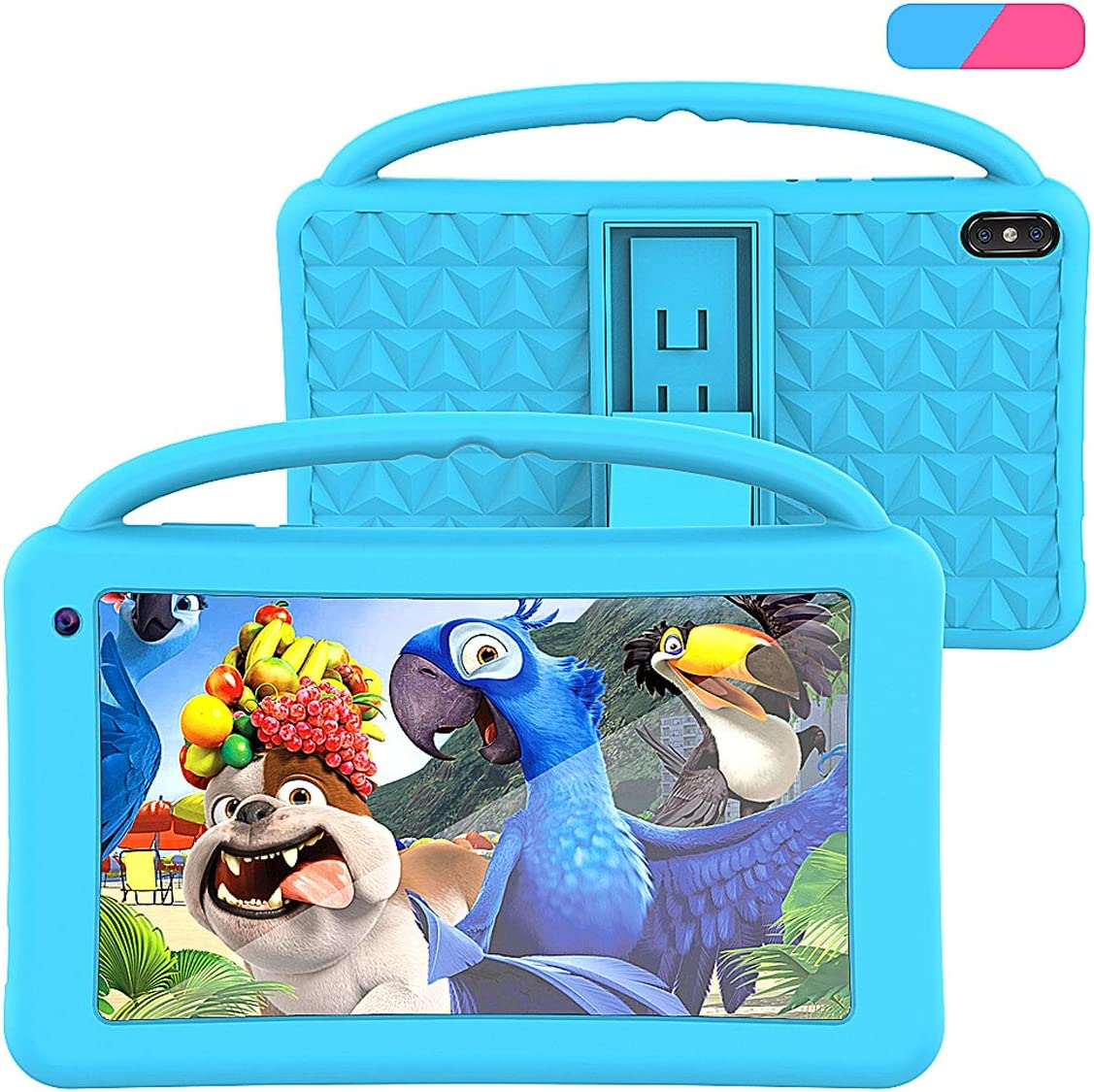 Kids Tablet 7 Inch IPS HD Display QuadCore Android 10.0 Pie Tablet PC for Kids GMS Certificated Dual Cameras 2GB RAM 32GB ROM WiFi with Handheld Kids-Proof Silicon Case for Kids Educational Blue