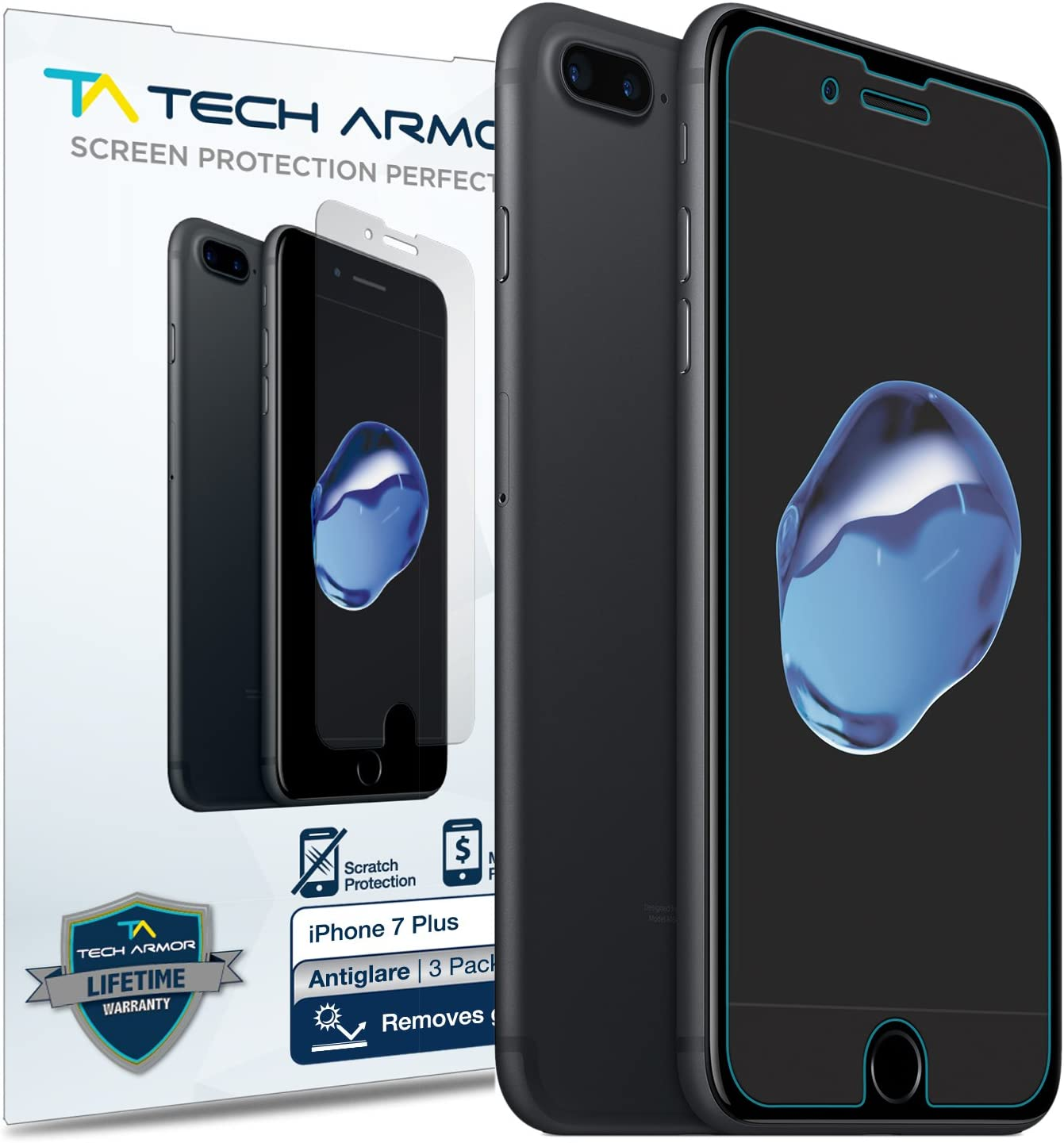 Tech Armor Anti-Glare/Fingerprint Film Screen Protector for Apple iPhone 7 Plus/iPhone 8 Plus (5.5-inch) [3-Pack]