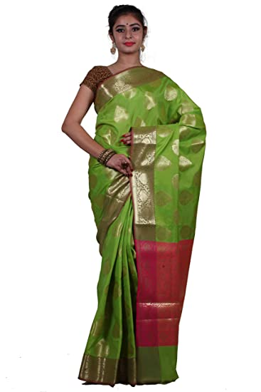 141304465d06e7 Asavari Parrot Green - Zari Boota Weaved Kataan Banarasi Saree with Brocade  Blouse  Amazon.in  Clothing   Accessories