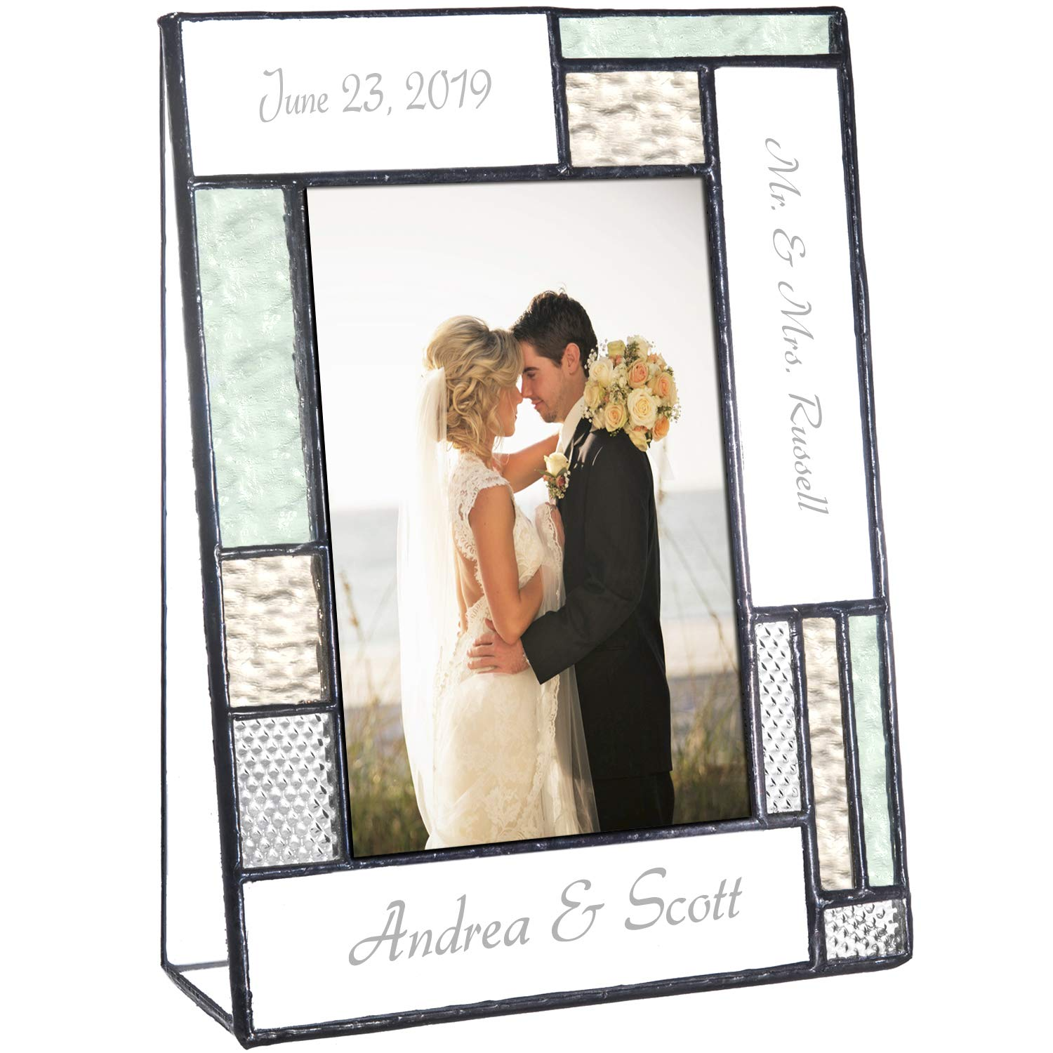 Wedding Picture Frame Personalized Gift for Couple Engraved Green Yellow Glass Table Top 4x6 Vertical Photo Engagement Keepsake J Devlin Pic 430-46V EP619