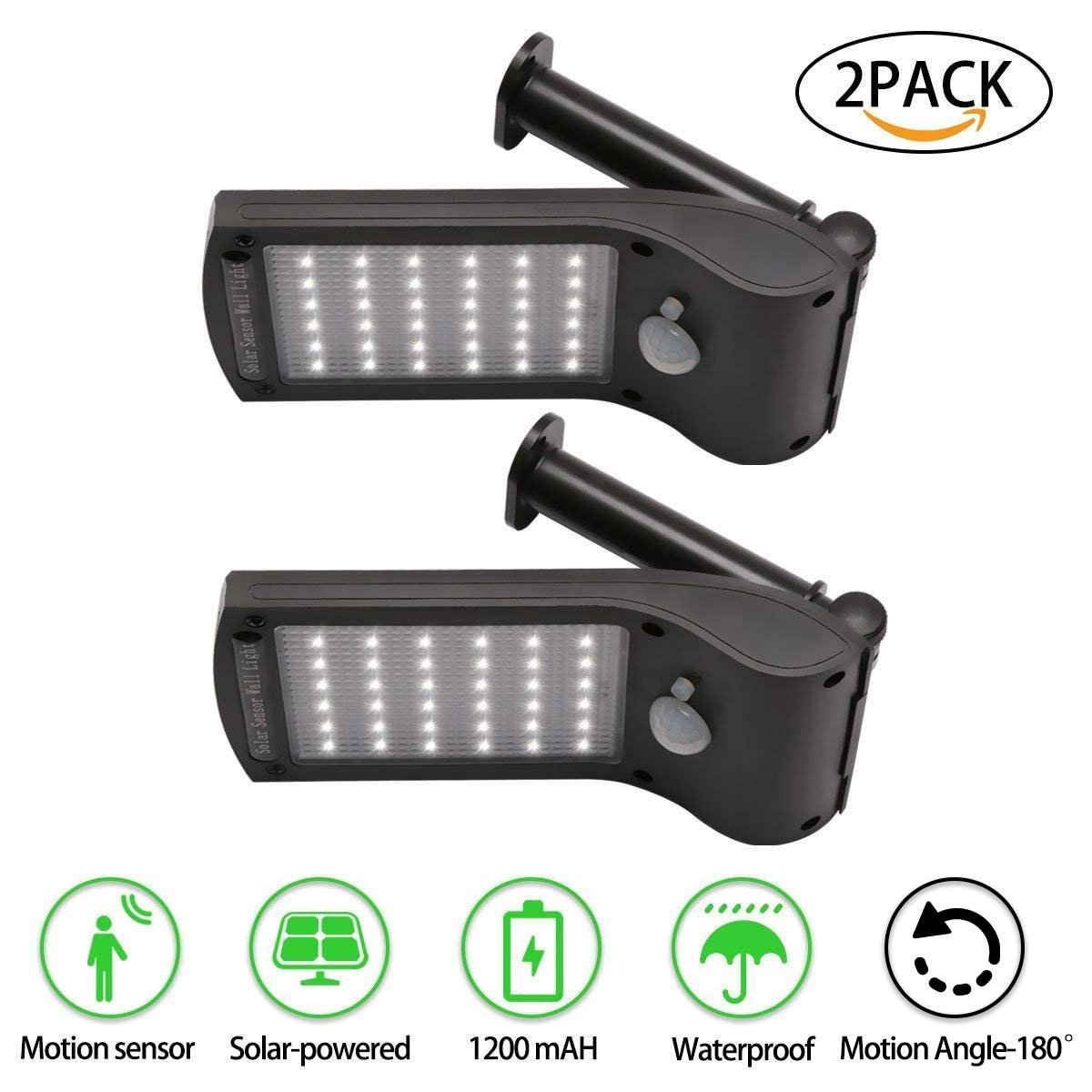 PETOWN Solar Lights Outdoor, 36 LED-Wall Solar Sensor Wall Light Outdoor Security,Lighting Nightlight,Waterproof,Removable, For Garden,Back Yard,Fence,Garage,Garden,Pathway (2 PACKS)