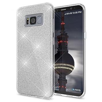 Coovertify Funda Purpurina Brillante Plateada Samsung S8, Carcasa resistente de gel silicona con brillo gris Plata para Samsung Galaxy S8 (5,8