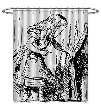 Alice In Wonderland Shower Curtain Collection By Black And White Looking Through Curtains Hidden Door