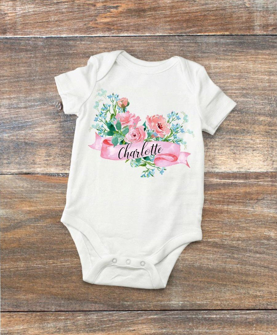 Baby Bodysuit - Personalized with Pink Flowers
