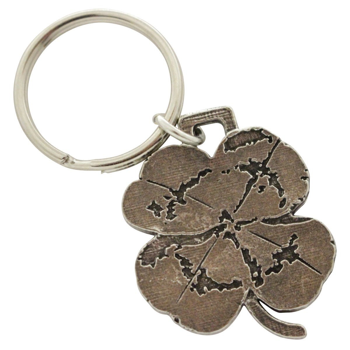 Creative Pewter Designs, Pewter 4 Leaf Clover Key Chain, Antiqued Finish, A1034KC