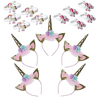 5 Pack Unicorn Party Supplies Gold Unicorn Horn Headbands Animal Baby Photo  Props with Glitter Ears 2bc8f2d01173