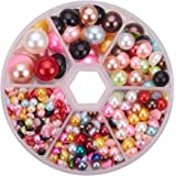 PandaHall Elite 1 Box About 690 Pcs Mixed Color Assorted Mixed Sizes 4-12mm Flat Back Pearl Cabochons