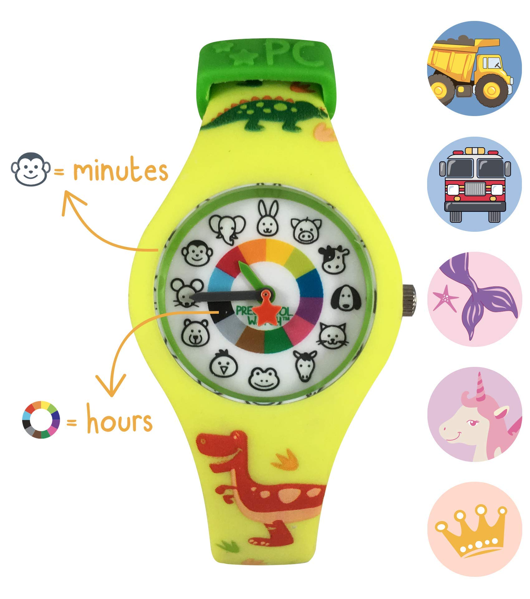 Dinosaur Preschool Watch - The Only Analog Kids Watch Preschoolers Understand! Quality Teaching time Silicone Watch with Glow-in-The-Dark Dial & Japan Movement by PRESCHOOL COLLECTION (Image #7)